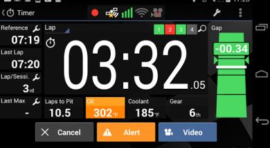 Harry's laptimer timer view showing laptime , gap, best lap , sectors and sensor data