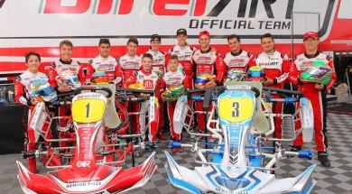 The Psl Karting racing team drivers behind the 2 kart line ups