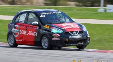 Kevin King on track Nissan Micra cup