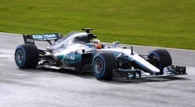 Hamilton on track with new w08 at speed