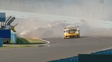 Porsche GT3 Cup Challenge USA Canada 2017. Race 1 Watkins Glen International. Huge Crash
