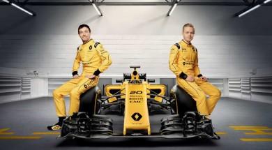 Renault Sport Formula One Team drivers Jolyon Palmer and Kevin Magnussen