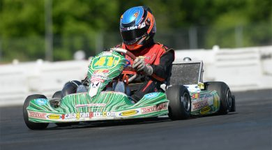Kyle Kirkwood on track with OGP Changing to the white and red of PSL Karting