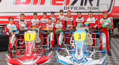 The Psl Karting racing team drivers behind the 2 kart line ups
