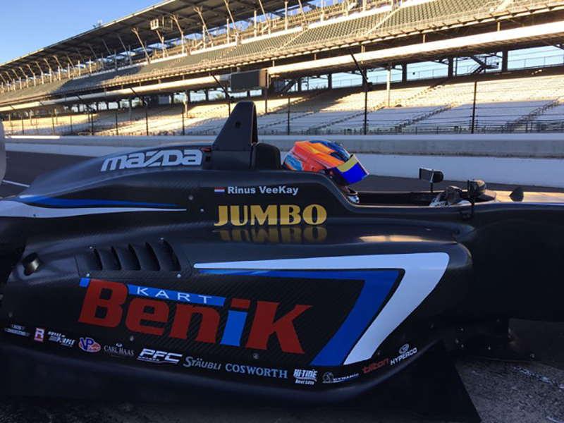 Rinus Vee Kay turns first laps in Benik Carlin at Indianapolis Motor Speedway