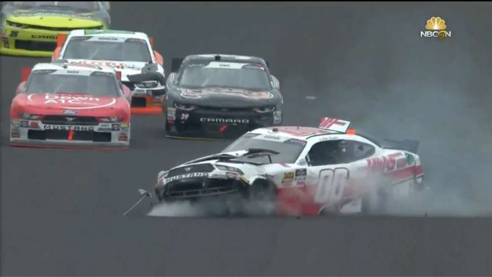 NASCAR Xfinity Series 2018. Indianapolis Motor Speedway. Cole Custer Crash