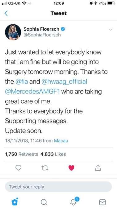 Sophia Flörsch twitter info about her accident in Macau 2018