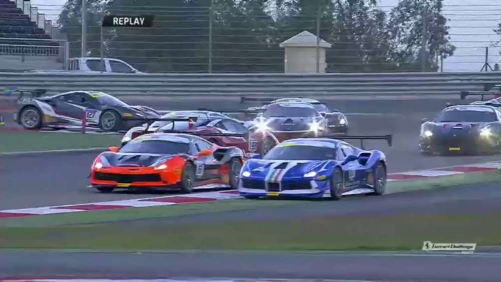 Ferrari Challenge Europe (Coppa Shell) 2019. Race 2 Bahrain International Circuit. Start Crashes_5c69834a09741.jpeg
