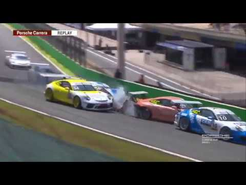 Porsche Carrera & GT3 Cup Challenge Brasil 2019. Race 2 Autódromo de Interlagos. Big Crash_5c8d2df907a38.jpeg