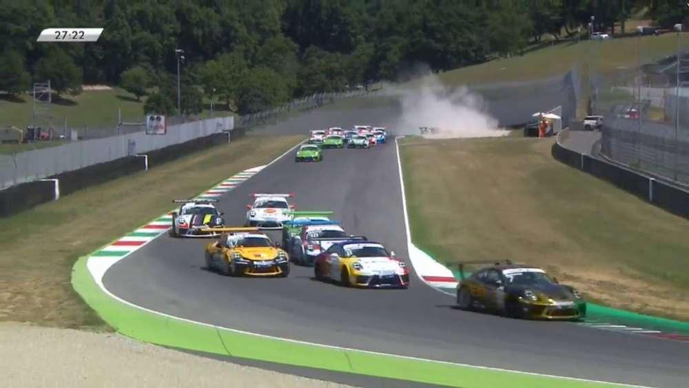 Porsche Carrera Cup Italia 2019. Race 2 Autodromo Internazionale del Mugello. Start Crash_5d347e5ed46a3.jpeg