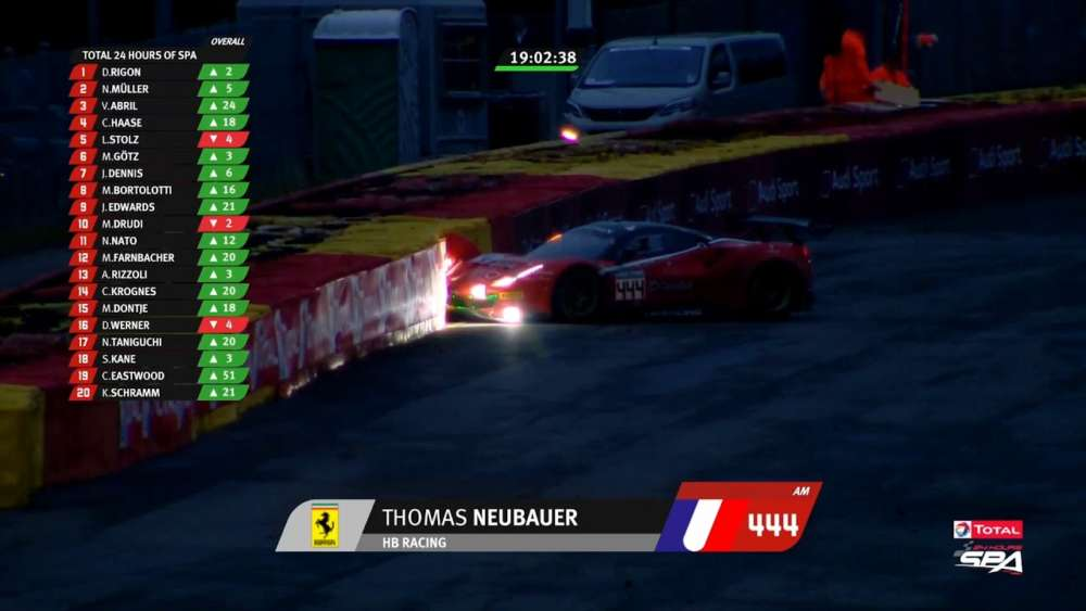Total 24h of Spa 2019. Race. Thomas Neubauer Crash_5d3ca920ebde6.jpeg