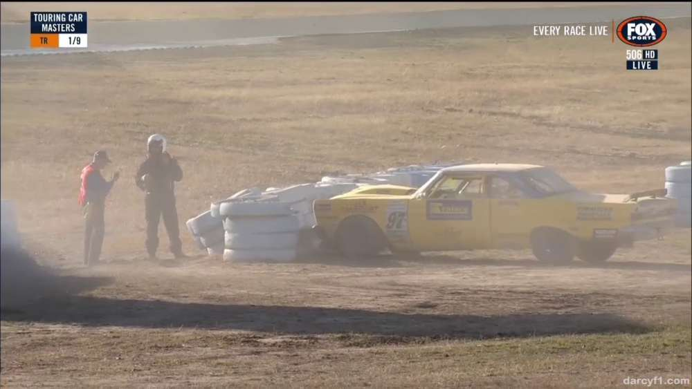 Touring Car Masters 2019. Race 1 Queensland Raceway. Start Allen Boughen Crash_5d3c074d87b31.jpeg