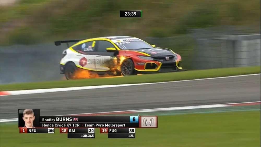 ADAC TCR Germany 2019. Race 1 Nürburgring. Bradley Burns Fire_5d57f86088a35.jpeg