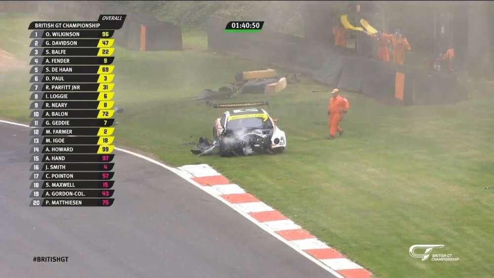 British GT 2019. Race Brands Hatch. Glynn Geddie Big Crash_5d46d2c6b7309.jpeg