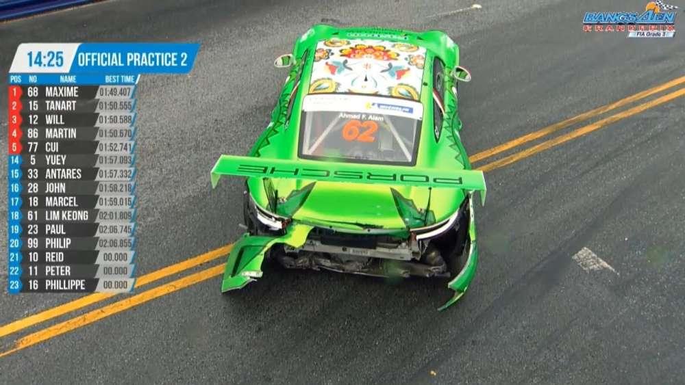 Porsche Carrera Cup Asia 2019. Practice 2 Bangsaen Grand Prix. Ahmad F. Alam Crash_5d69300c15d4f.jpeg