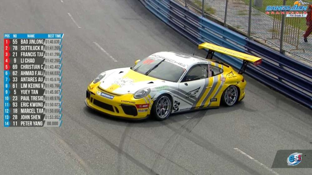 Porsche Carrera Cup Asia (ProAm) 2019. Qualifying 1 Bangsaen Grand Prix. Lim Keong Wee Crash_5d6a205077994.jpeg