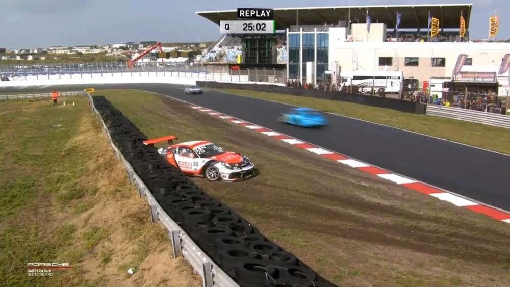Porsche Carrera Cup Deutschland 2019. Qualifying Circuit Park Zandvoort. Henric Skoog Crash_5d4e87f7cb71a.jpeg