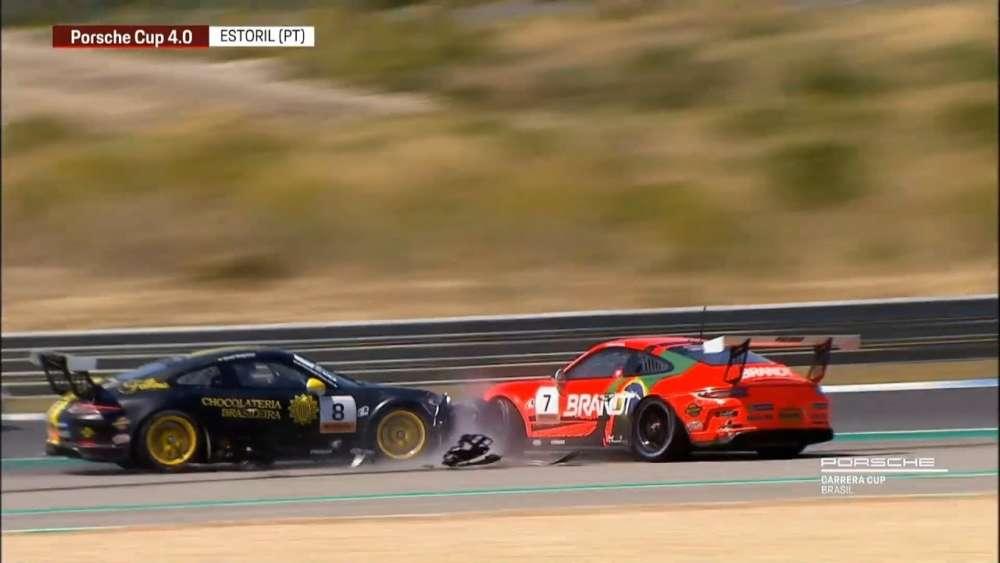 Porsche Carrera Cup/GT3 Cup Challenge Brasil (4.0) 2019. Race 1 Circuito do Estoril. Start Crash_5d441b99ed493.jpeg