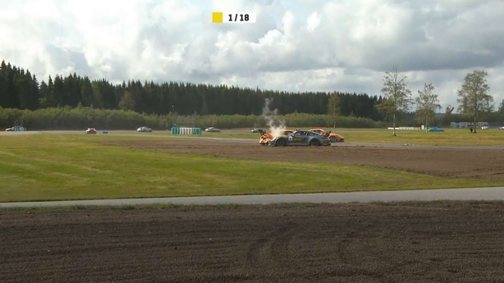 Porsche Carrera Cup Scandinavia 2019. Race 1 Gelleråsen Arena. Start Big Crash_5d5c264f56b95.jpeg