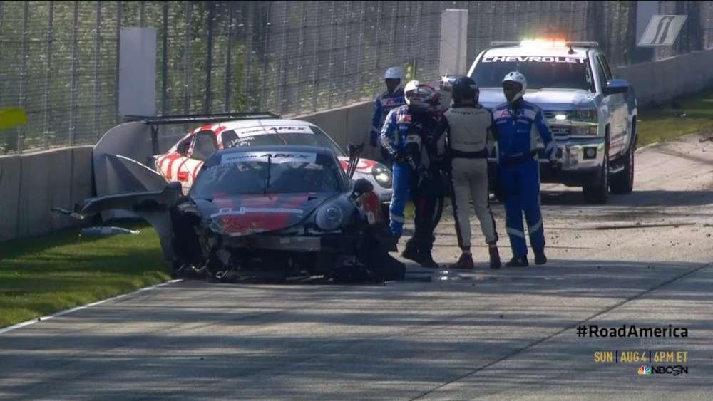 Porsche GT3 Cup Challenge USA 2019. Race 2 Road America. Michael Levitas & Lawrence Loshak Crash_5d46fc11b796b.jpeg
