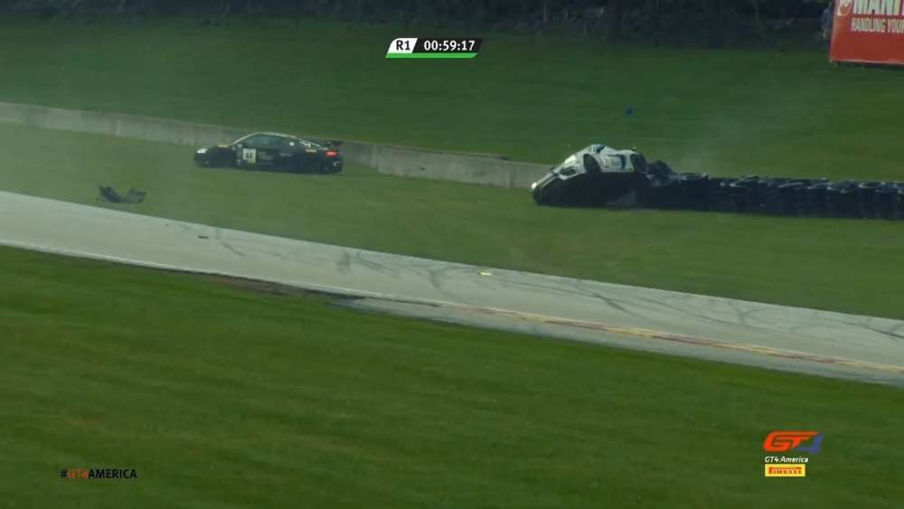 GT4 America (SprintX East) 2019. Race 1 Road America. Start Crash_5d86a02537775.jpeg