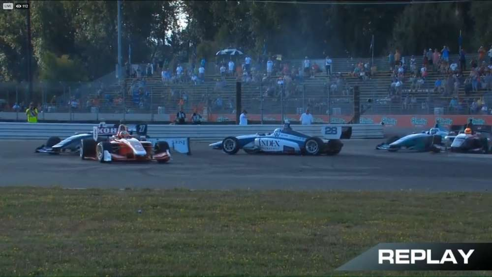 Indy Lights 2019. Race 2 Portland International Raceway. Start Oliver Askew & David Malukas Crash_5d6c031a1af56.jpeg