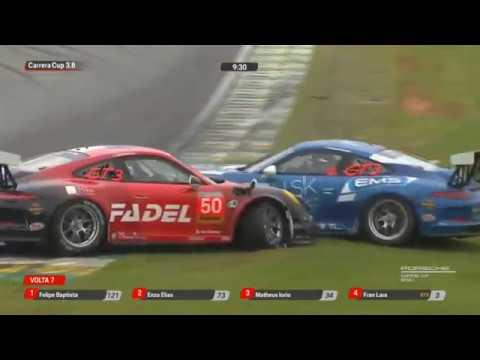 Porsche Carrera Cup Brasil (3.8) 2019. Race 1 Autódromo José Carlos Pace. Crash_5d86401b93205.jpeg