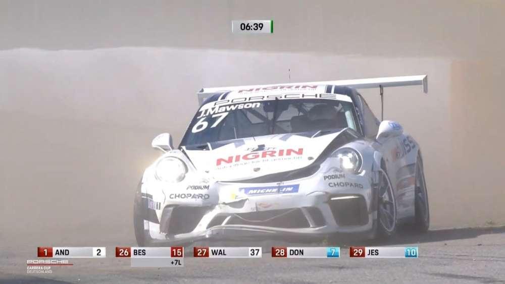 Porsche Carrera Cup Deutschland 2019. Race 2 Hockenheimring. Joey Mawson Crash_5d7e10d042b2b.jpeg