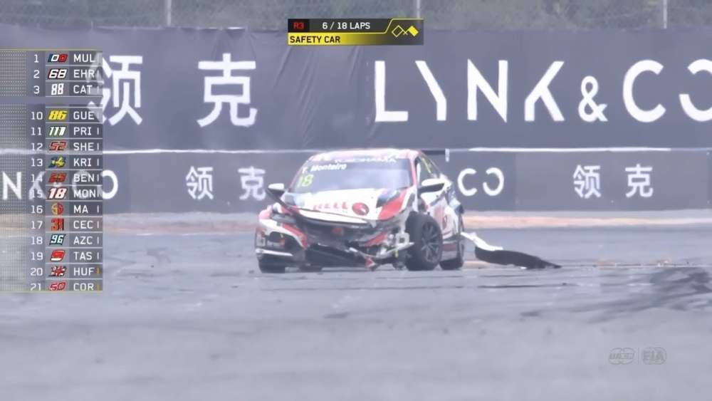 WTCR 2019. Race 3 Ningbo International Circuit. Niels Langeveld Off | Tiago Monteiro Hard Crash_5d7df960c11d0.jpeg