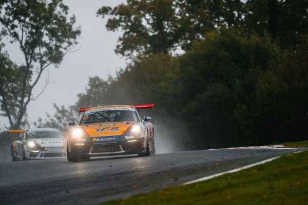 HARPER HEADS TRICKY PORSCHE CARRERA CUP GB FRIDAY PRACTICE AT BRANDS HATCH