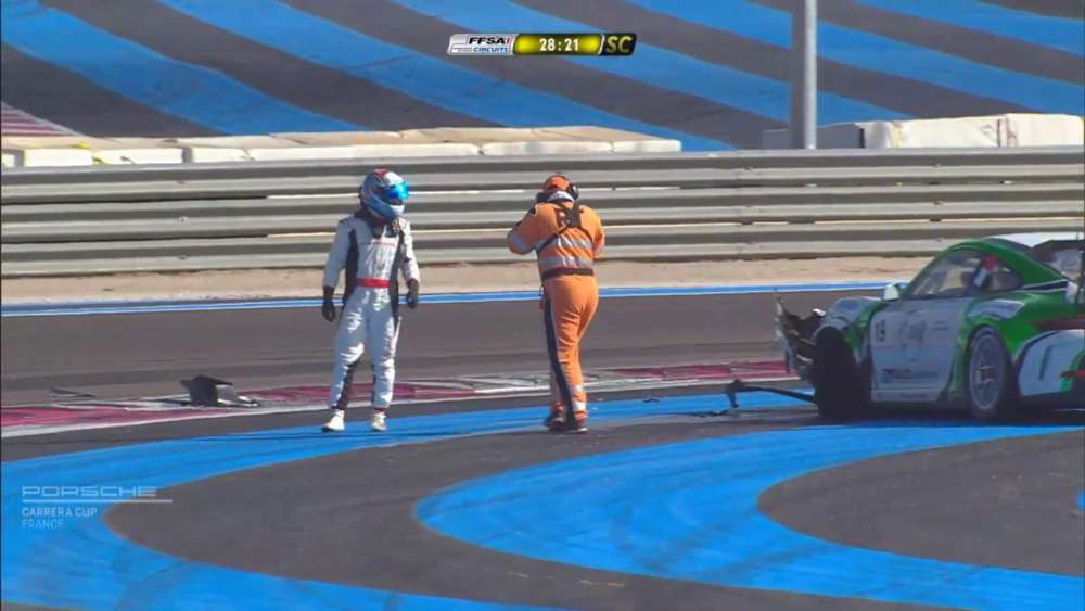 Porsche Carrera Cup France 2019. Race 2 Circuit Paul Ricard. Start Crashes_5da73f41c6dd5.jpeg