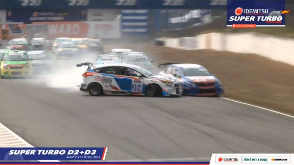 Super Turbo Thailand (Super Turbo D2+D3) 2019. Race 2 Bira International Circuit. Leaders Crashes_5daa0c55d9a50.jpeg