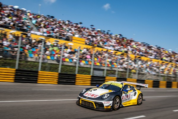 TWO PORSCHE 911 GT3 R ON THE  FIA GT WORLD CUP QUALIFYING RACE PODIUM IN MACAU