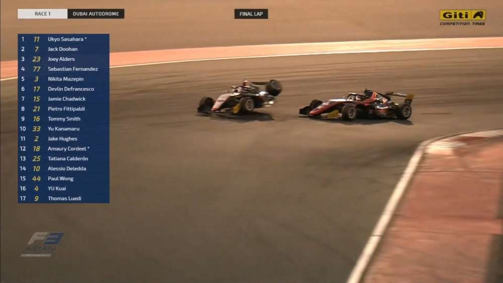 F3 Asian Championship 2020. Race 1 Dubai Autodrome. Last Laps | Leaders Crash_5e1d1ff52fdda.jpeg