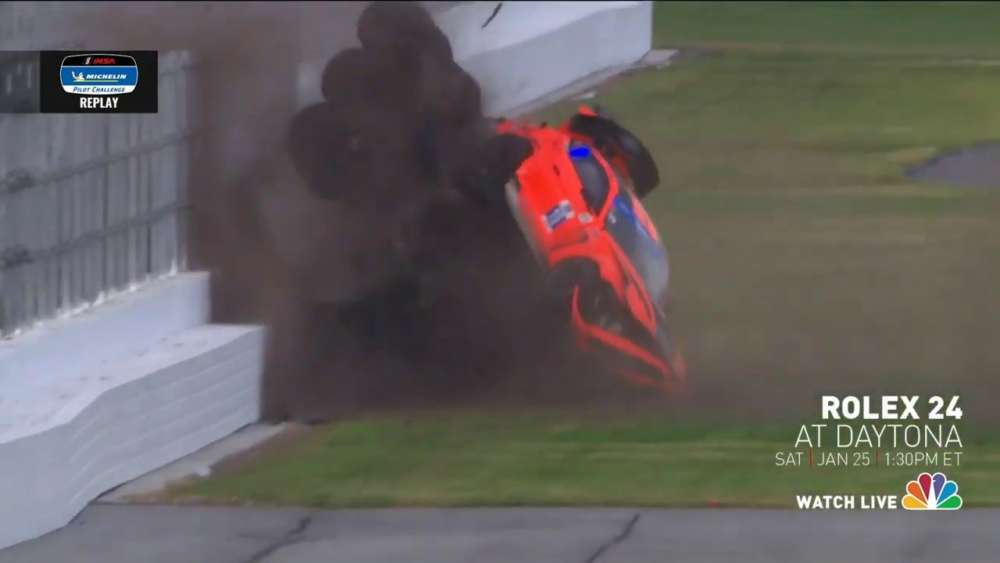 Michelin Pilot Challenge 2020. Daytona International Speedway. Big Crash Flip_5e2b6d01152fc.jpeg