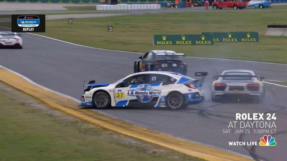 Michelin Pilot Challenge 2020. Daytona International Speedway. Spins Crash_5e2b476799b4c.jpeg
